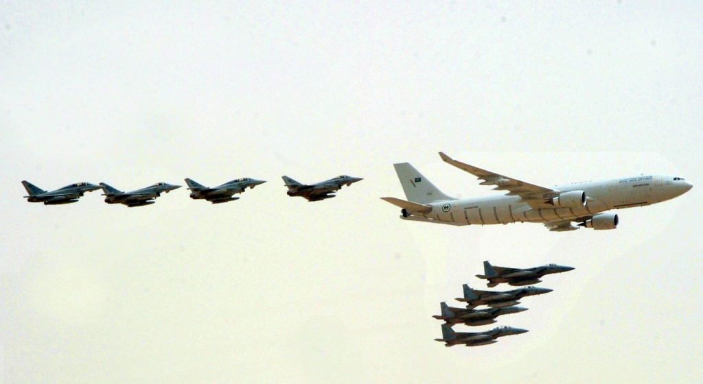 Crown Prince Graces Administrative Military Parade of the Armed Forces (SPA) jets escort
