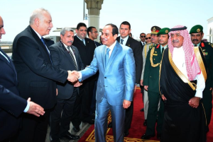President Sisi with Saudi leaders in Jeddah.