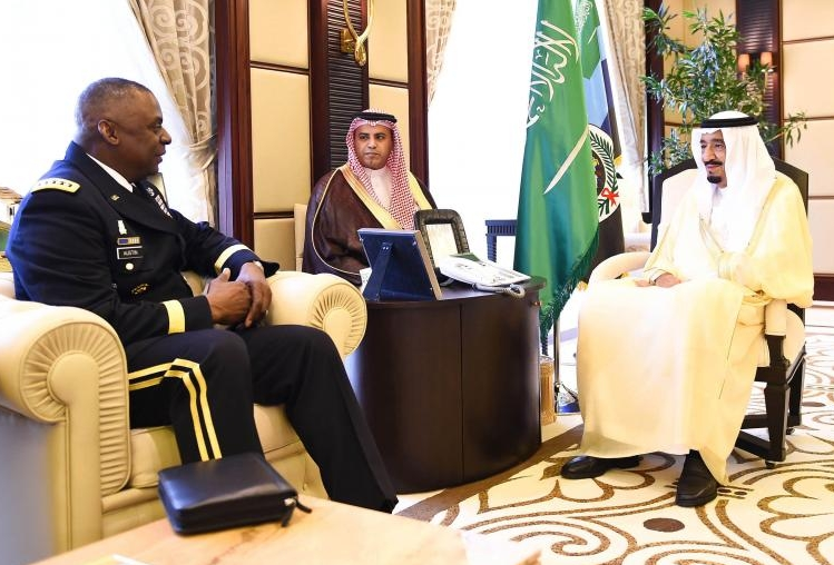 Crown Prince Salman meets with CENTCOM Chief Lloyd Austin III in Riyadh today.