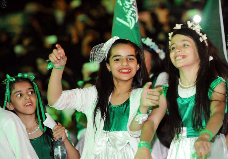 Saudi youth celebrate the Kingdom's National Day. Photo via SPA.gov.sa.