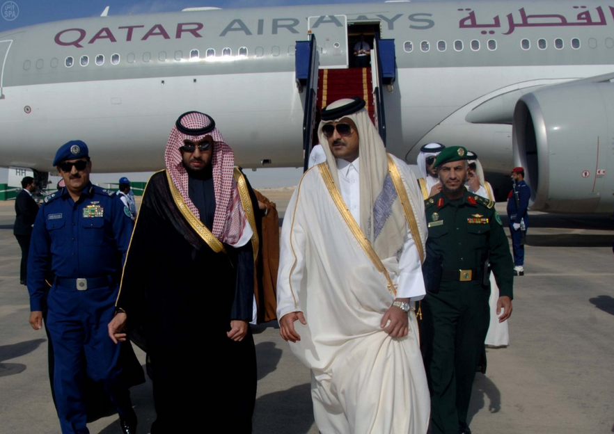 His Highness Sheikh Tamim Bin Hamad Al Thani, Emir of Qatar, and his accompanying delegation