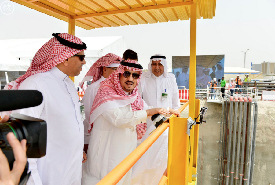 Emir of Riyadh region, called the work in the first giant tunnel boring machines within King Abdulaziz project for public transport3