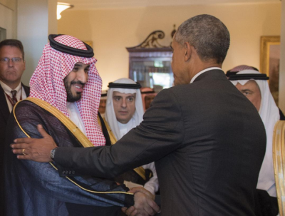 President Barack Obama greets Deputy Crown Prince Mohammed bin Salman at the White House.