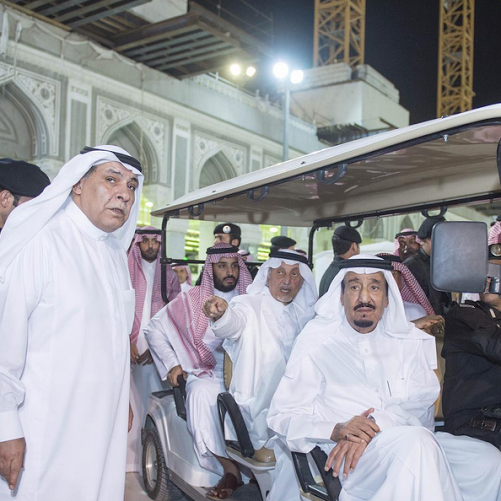 King Salman tours the site of the crane collapse in Mecca.
