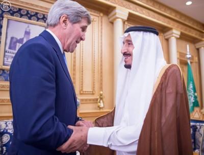 Secretary of State John Kerry and Saudi King Salman meet in Riyadh in October, 2015.