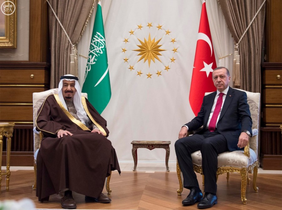 King Salman met today with Recep Tayyip Erdoğan and will stay in Ankara until Wednesday, and then will travel to Istanbul for the 13th annual meeting with the Organization of Islamic Cooperation (OIC) summit.