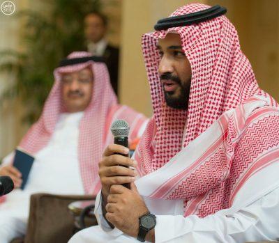 Deputy Crown Prince Mohammed bin Salman speaks to Saudi youth in Washington, D.C. alongside Saudi Ambassador to the United States Prince Abdullah bin Faisal bin Turki.