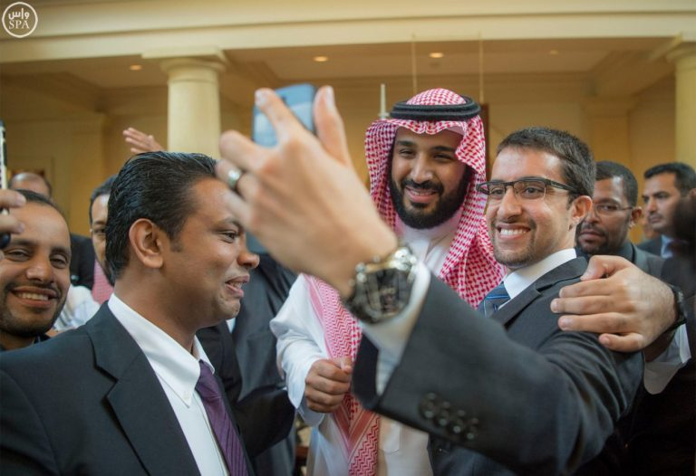 Prince Mohammed with a Saudi student.