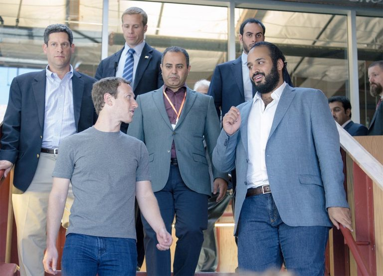 Deputy Crown Prince Mohammed bin Salman with Mark Zuckerberg, CEO of Facebook.
