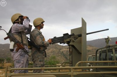 Saudi soldiers on the Kingdom's southern border with Yemen.