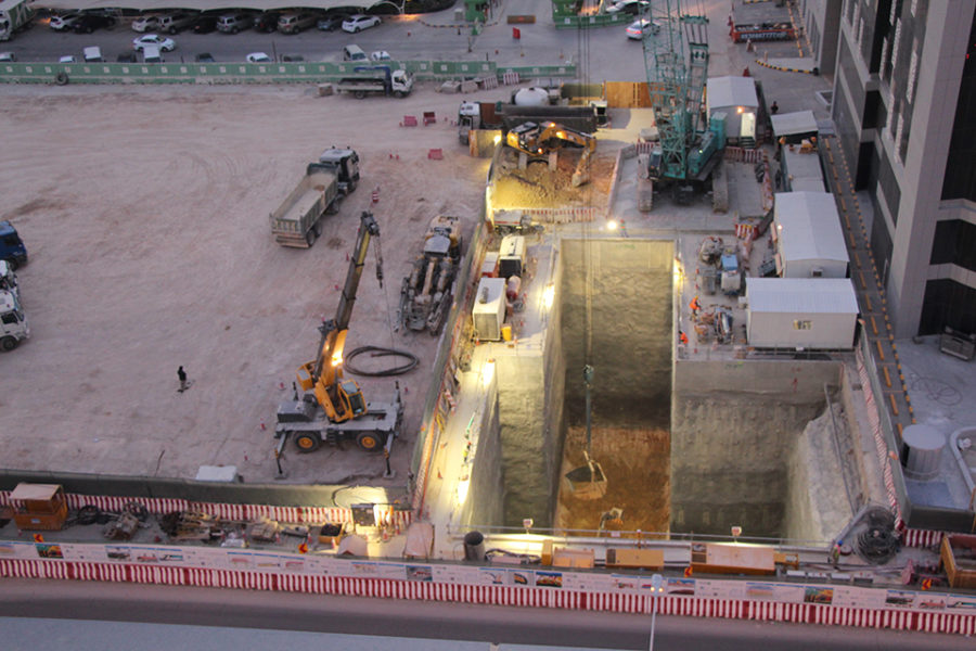 The Riyadh metro under construction in 2017.