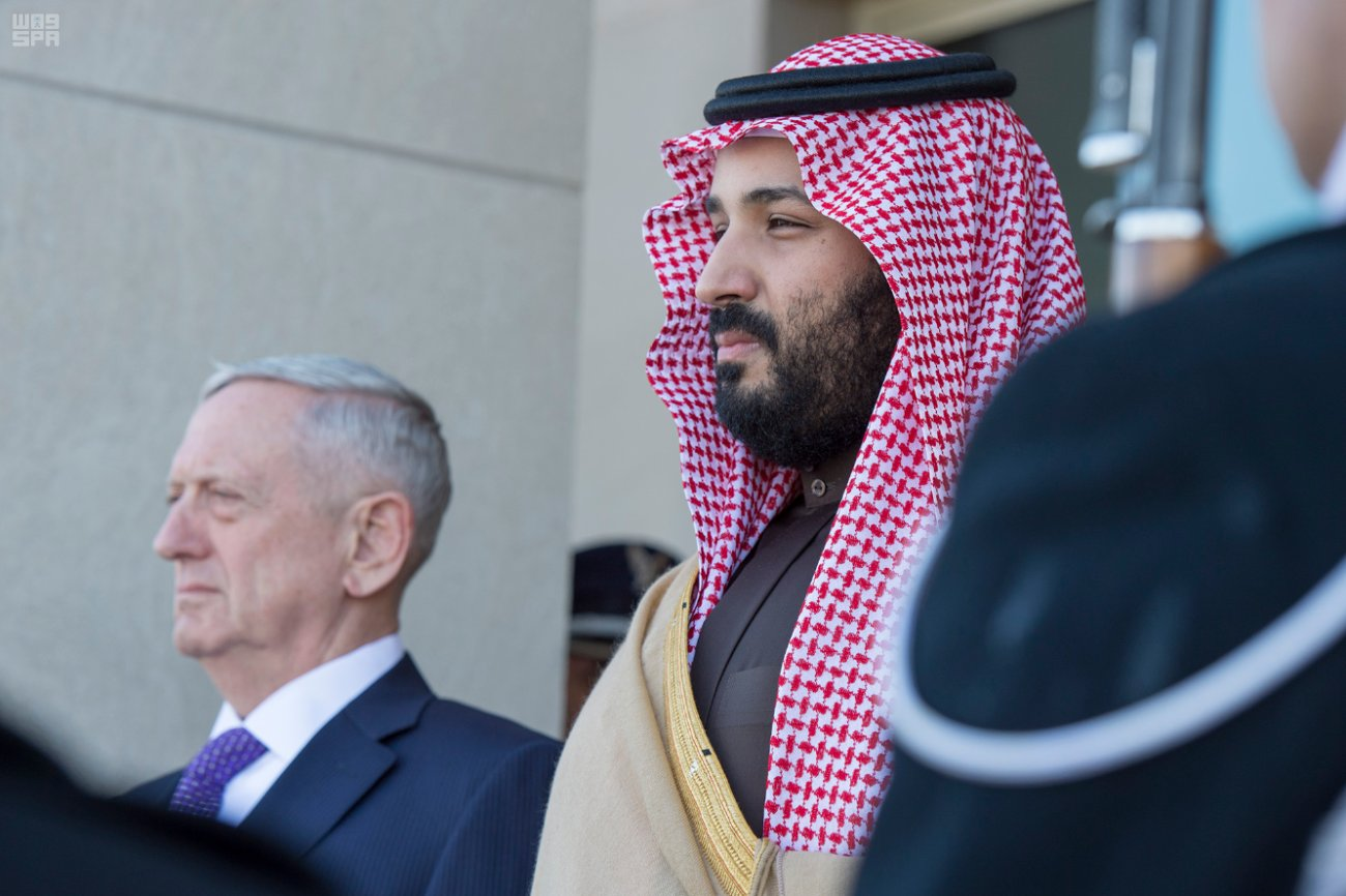 Deputy Crown Prince Mohammed bin Salman at the Pentagon yesterday.