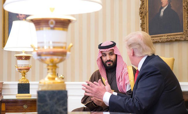 Deputy Crown Prince Mohammed bin Salman with President Trump.