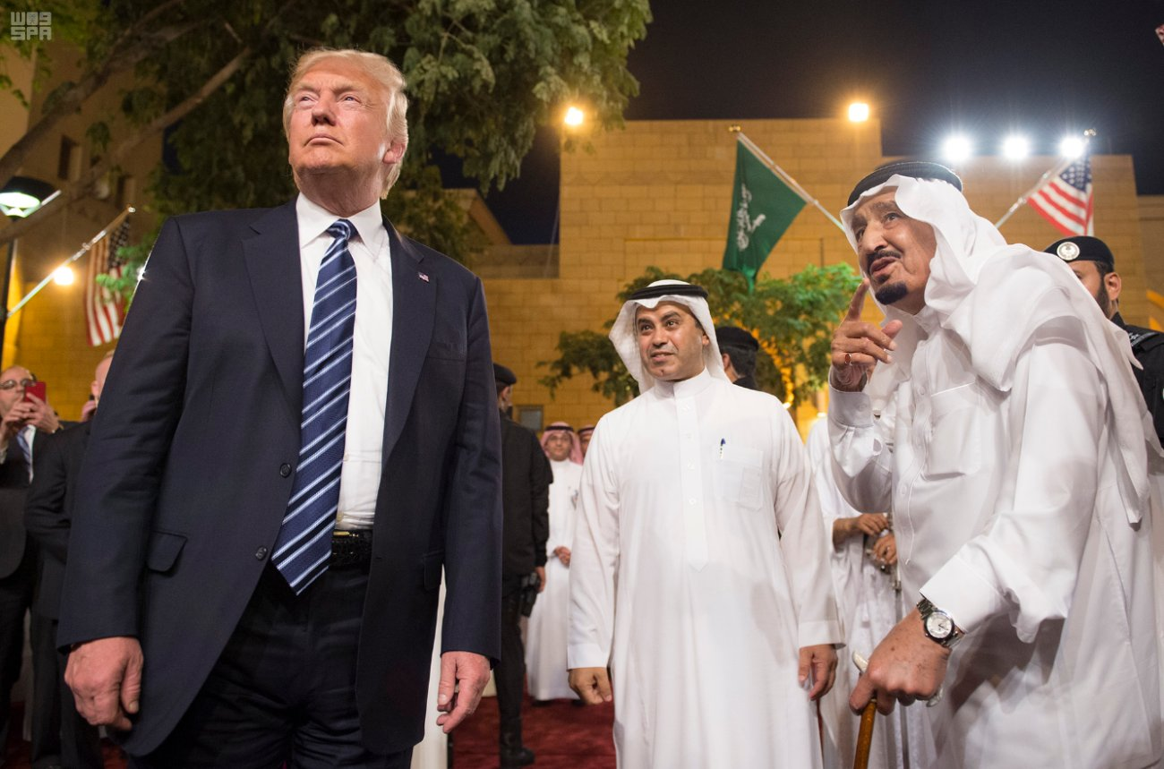 President Trump visits Riyadh, Saudi Arabia, and attends a cultural event with King Salman.