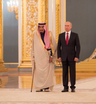 King Salman and Vladamir Putin in Russia.