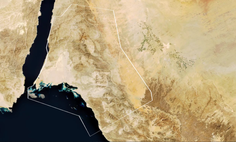 Neom, as shown on a map from discoverneom.com, will be 10,000 square miles.