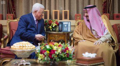 Saudi Arabia's King Salman with Mahmoud Abbas.