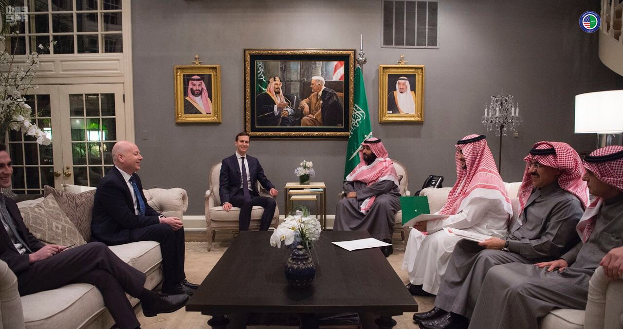 Jared Kushner with Crown Prince Mohammed bin Salman.