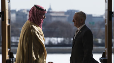 Defense Secretary James N. Mattis meets with Saudi Arabia's First Deputy Prime Minister and Minister of Defense, Crown Prince Mohammed bin Salman bin Abdulaziz at the Pentagon in Washington D.C., Mar. 22, 2018. (DoD photo by Navy Mass Communication Specialist 1st Class Kathryn E. Holm)