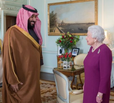 Crown Prince Mohammed bin Salman and Queen Elizabeth.
