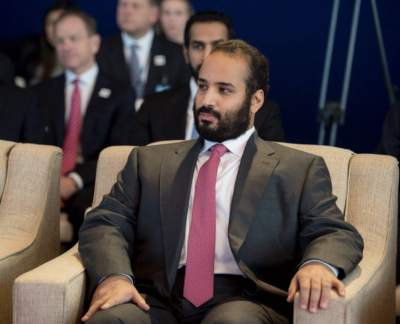 Crown Prince Mohammed bin Salman at a Boeing facility in Washington state.