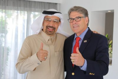 Rick Perry and Khalid Al-Falih in Dhahran, Saudi Arabia.