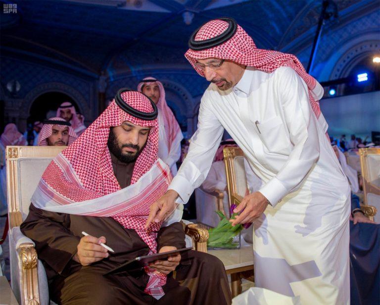 Saudi Arabia's Crown Prince Mohammed bin Salman with Khalid Al Falih, Minister of Energy, Industry and Mineral Resources in Saudi Arabia.