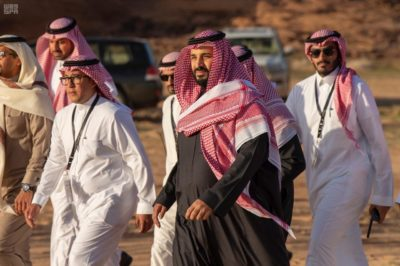 Crown Prince Mohammed bin Salman at the Sharaan Nature Reserve.