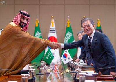 Crown Prince Mohammed bin Salman and President of the Republic of Korea Moon Jae-in.