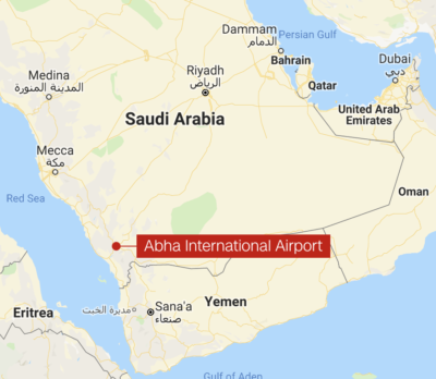 Abha international airport. Photos on social media carried in Al Arabiya show some damage to the airport.