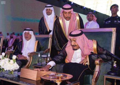 King Salman at Jeddah Airport's new terminal.