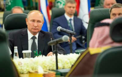 The Russian president, accompanied by his energy minister and head of Russia's wealth fund, met King Salman at his palace along with de facto ruler Crown Prince Mohammed bin Salman, Reuters reports.
