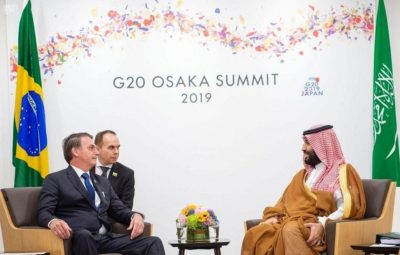 Crown Prince Mohammed bin Salman at a meeting with Brazilian leaders at the G20 in Japan in June.