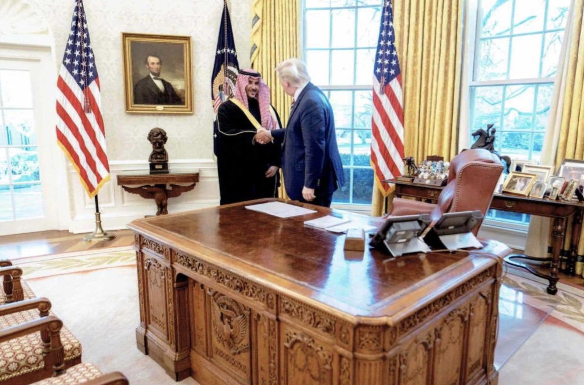 President Trump and Saudi deputy defense minster Prince Khalid bin Salman in Washington.